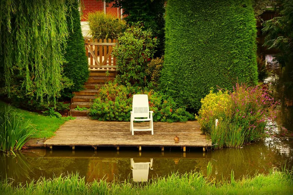 timber deck on water feature pond