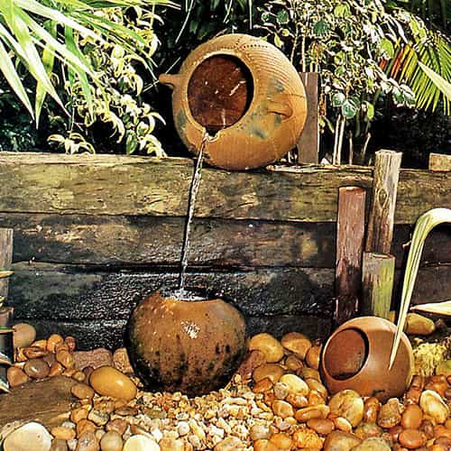 flowing clay pots fountain