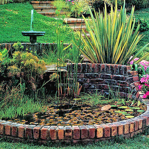 A two-tier pond with water fountain